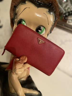 Prada Wallet dark red-bronze-colored leather