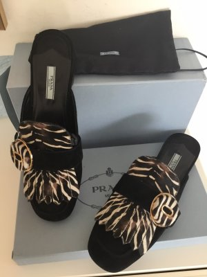 Prada Sabots black-white leather