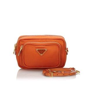 Prada Borsa a spalla arancione Nylon