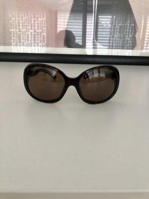 Prada Occhiale da sole ovale marrone-marrone scuro