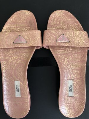 Prada Pantoletten Mules Rosa Gold Glamour