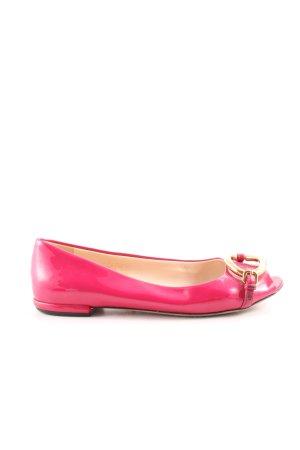 Prada Ballerines à bout ouvert doré-rose style décontracté
