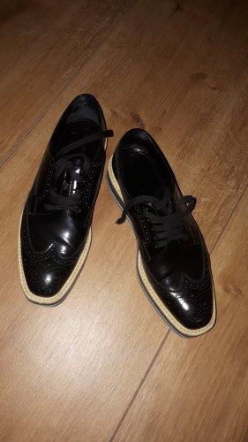Prada Zapatos estilo Oxford blanco-negro