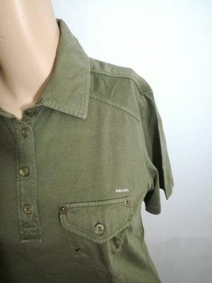 Prada Camiseta tipo polo gris verdoso Algodón
