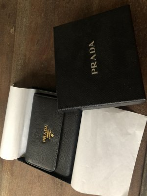 Prada Wallet black-gold-colored leather