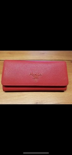 Prada Wallet neon red leather