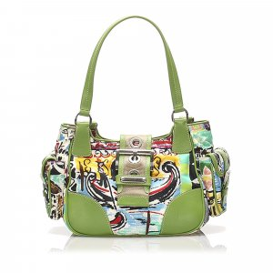 Prada Printed Canvas Shoulder Bag