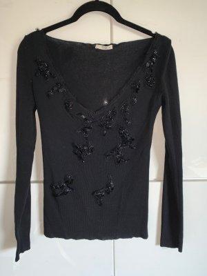 PRADA Pulli, schwarz mit Pailletten vorn, it. 42