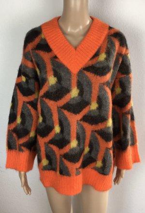 Prada, Pullover, 38/40 (It. 44), Orange-Grau-Gelb, Mohair/Polyamid/Wolle, neu, € 1.000,-