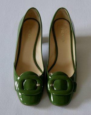 Prada Czółenka z klamrami zielony Skóra