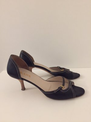 Prada Peep Toe Pumps black-gold-colored