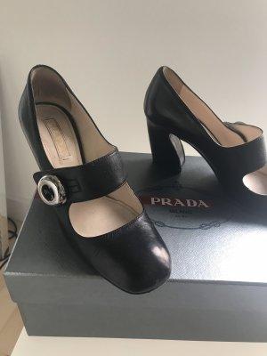 PRADA Pumps High Heels schwarz Leder 37,5 Mary Janes