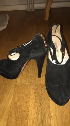 Prada Pumps Higheels schwarz Wildleder Mary Janes 38