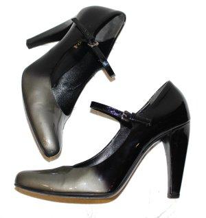 PRADA PUMPS schwarz silber Lackleder Gr. 38,5