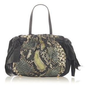 Prada Python Print Bow Tessuto Handbag