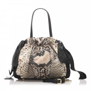 Prada Python Print Tessuto Shoulder Bag