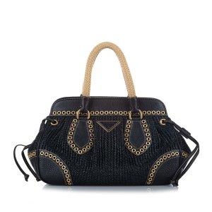 Prada Raffia Frame Handbag