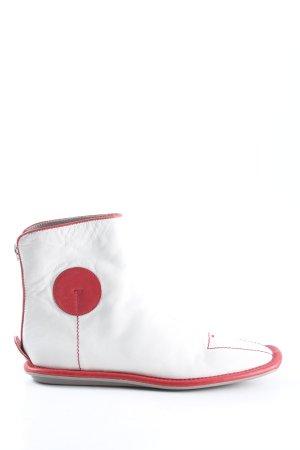 Prada Reißverschluss-Stiefeletten weiß-rot extravaganter Stil