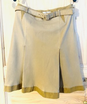 Prada Falda de cuero beige claro