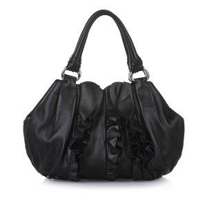 Prada Ruffled Leather Hobo Bag