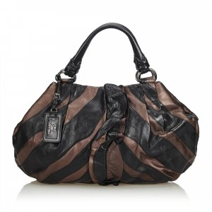 Prada Ruffled Mordore Leather Tote Bag