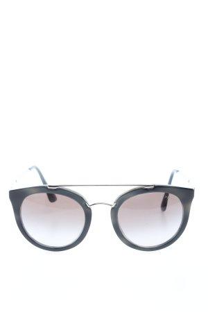 Prada Gafas de sol redondas negro-color plata look casual