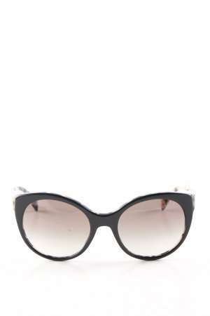 Prada Gafas de sol redondas negro-crema estampado de leopardo look casual