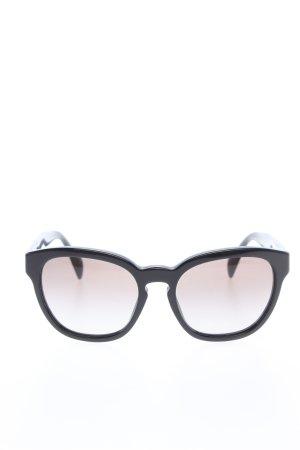 Prada Occhiale da sole rotondo nero Stampa a tema stile casual
