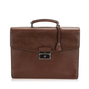 Prada Bolso business marrón Cuero