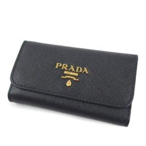 Prada Key Case black leather
