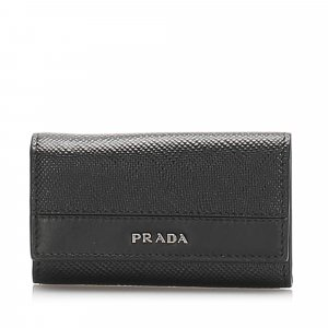 Prada Key Case black leather