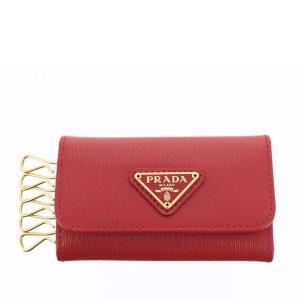 Prada Étui porte-clés rouge cuir