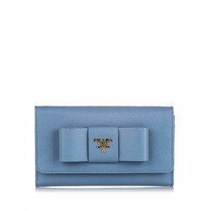 Prada Saffiano Lux Bow Wallet On Strap