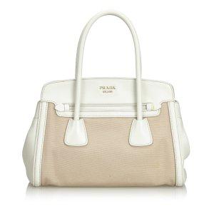 Prada Saffiano Trimmed Canvas Handbag