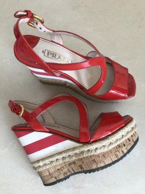 Prada Plateauzool sandalen rood Leer