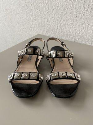 Prada Sandale schwarz mit Glitzersteinen und Metallplättchen
