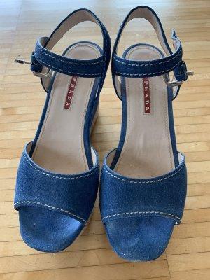 Prada Sandalo con plateau blu acciaio