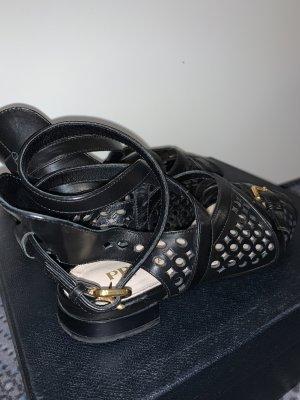 Prada Roman Sandals black-gold-colored leather