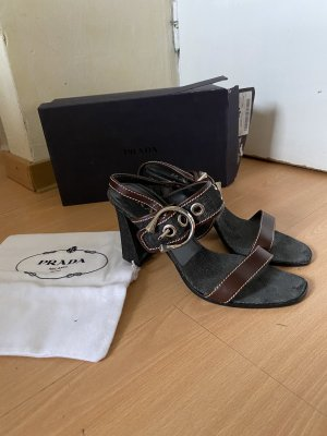 Prada Sandalias de tiras negro-marrón