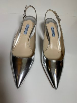Prada Heel Pantolettes silver-colored
