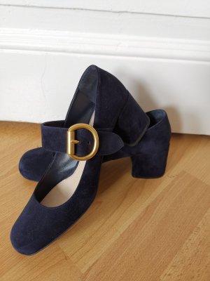 Prada Décolleté con cinturino blu scuro-oro Pelle