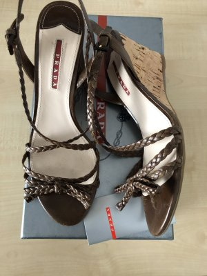 Prada Platform High-Heeled Sandal dark brown