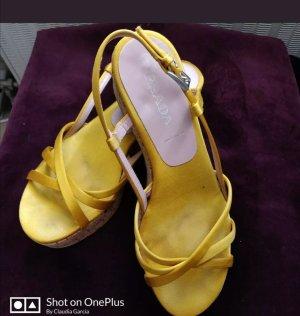 Prada Sandalen Wedges  Seide auf Leder 37 Sonnengelb Original