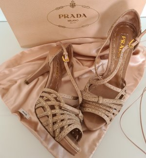 Prada Strapped High-Heeled Sandals beige leather