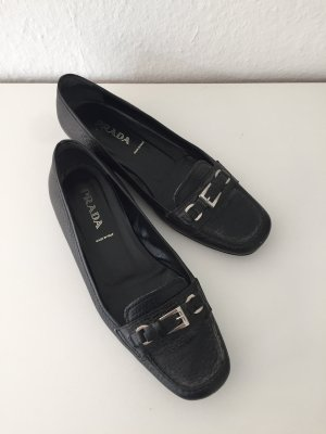 Prada Slippers black-silver-colored leather