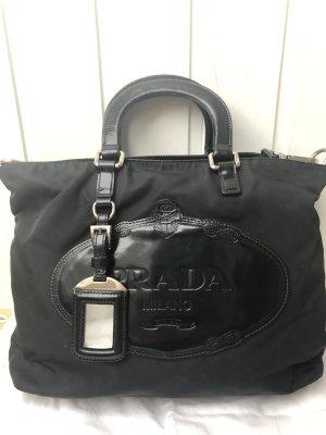 PRADA Schulter-/Handtasche, schwarzer Stoff mit Leder