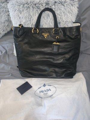 Prada Schwarze Leder Handtasche Shopper BN2477