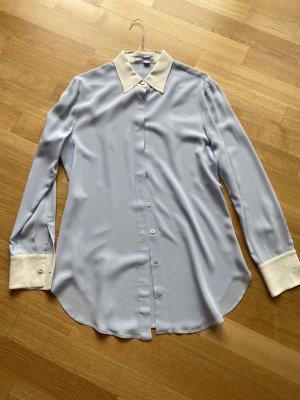 Prada Blusa in seta bianco-blu fiordaliso
