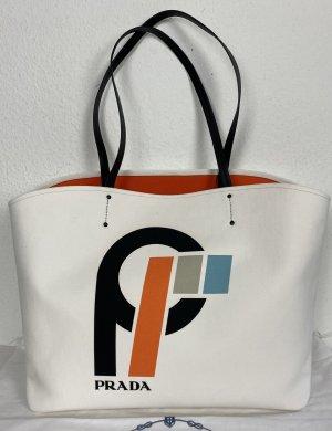 Prada, Shopper, Canvas/Leder, Bianco/Arancio, neu, € 1.050,-