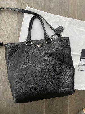 Prada Shopper Tasche Vit Daino schwarz Silber